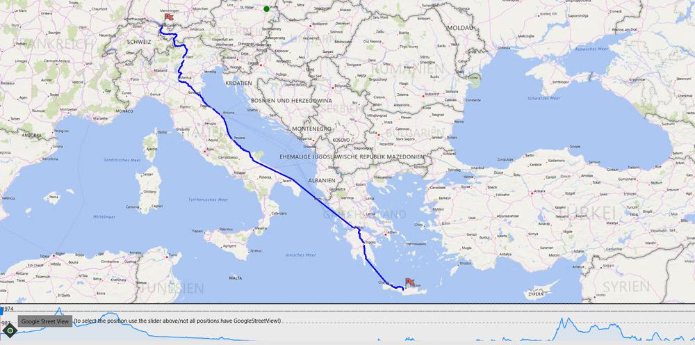 Streckenverlauf Route Vorarlberg nach Griechenland über Italien