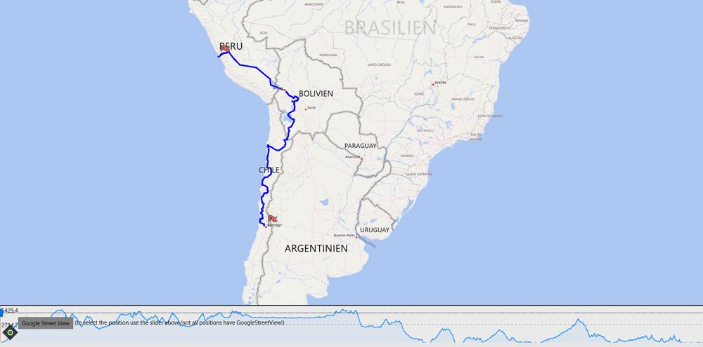 Streckenverlauf Route Peru nach Chile