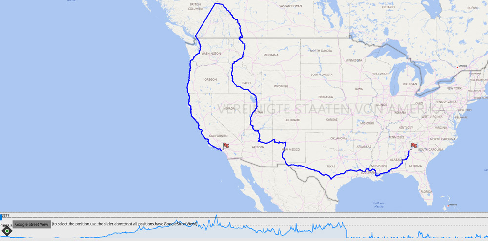 Streckenverlauf Route USA