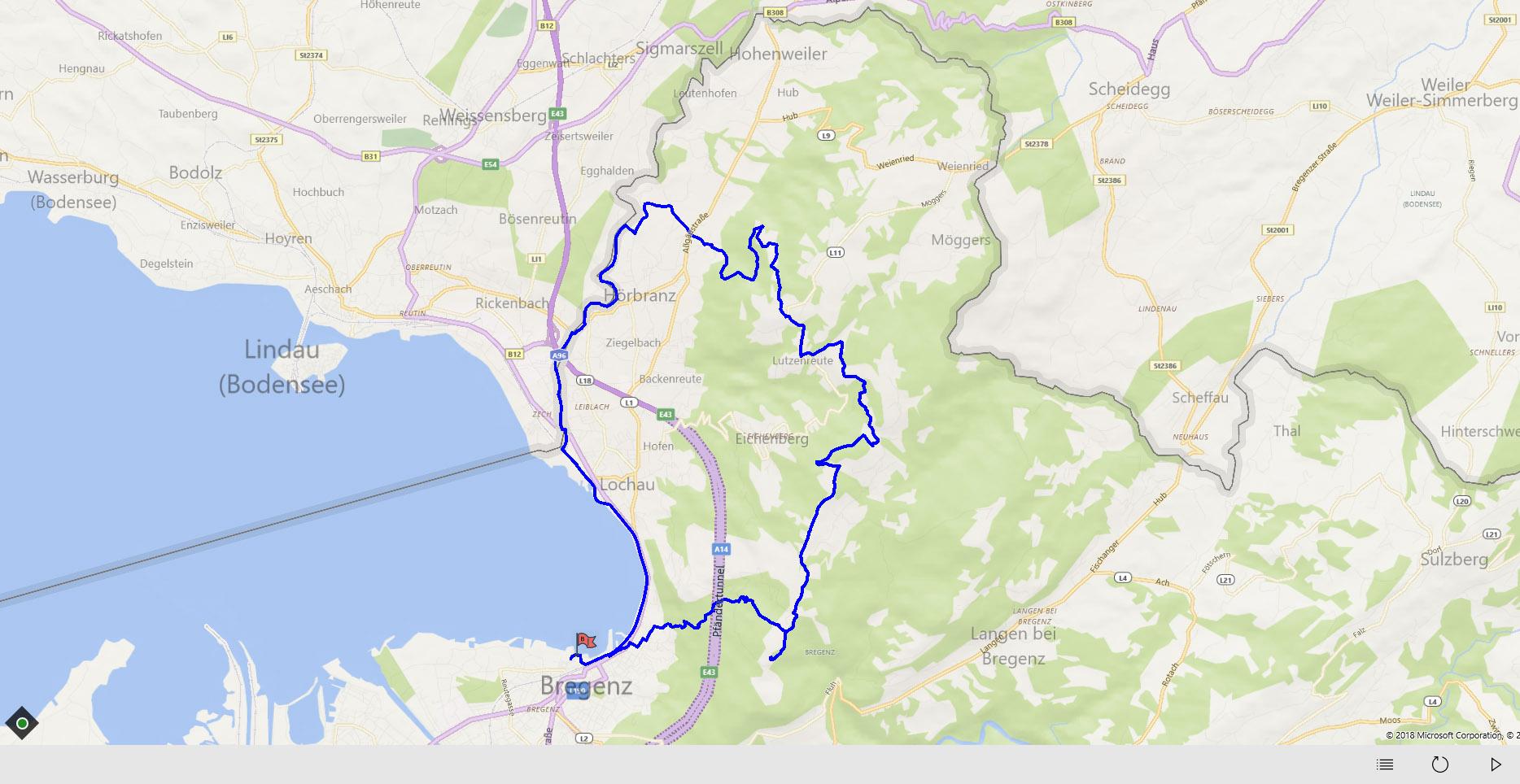 Streckenverlauf Andreute Pfänder Tour